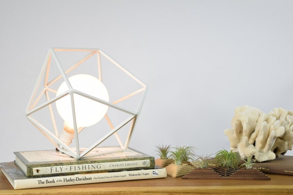 The Mercedes Geometric Table Lamp , White Table Lamp with choice of Frosted or Edison Globe