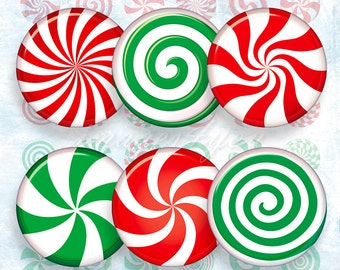 """Peppermint Candy 1"""" bottle cap images Christmas Digital Collage Sheet 1 inch circles, 30mm 25mm 1.25"""" 1.5"""" printable round download cabochon"""
