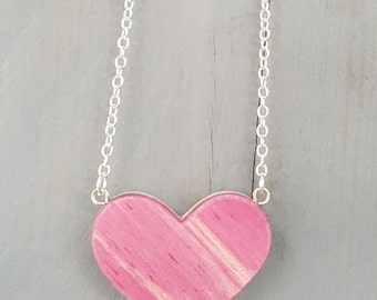 Recycled Skateboard Heart Necklace, Small