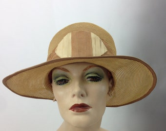 Authentic Vintage 1920's Wide Brimmed Straw Cloche' with Grosgrain Trim and Deco Bow