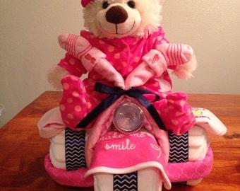 Girl Teddy Bear Diaper Tricycle Cake
