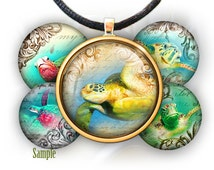 """Vintage turtles and old Letters - 1'' circles, 25mm, 30mm, 1.25"""", 1.5"""" image for pendants glass cabochons charm resin digital image magnets"""