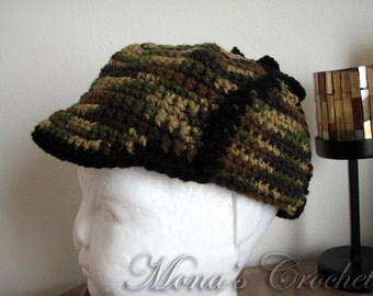 Hand Crocheted Camo Baby Hunter's Hat | Baby Hat | Baby Hunter's Hat | Crochet Hunter's Hat | Baby Shower Gift - Sizes 6 Months