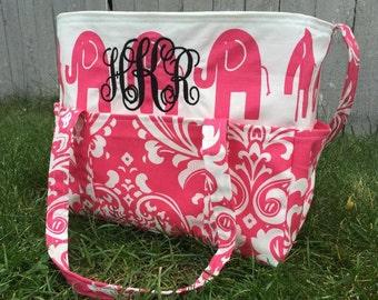 Large Diaper Bag, Baby Bag, Pink & Elephants