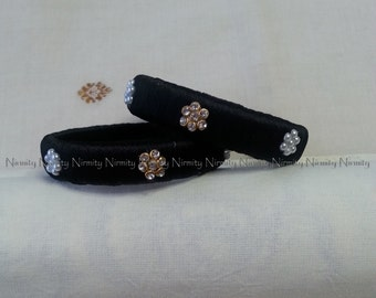 Black Handcrafted Silk Thread Work - Pearl and Clear Rhinestone Studded Bangles - Red silk thread bangles-Size 2.4-Bangle Bracelet