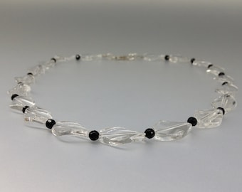 Rock Crystal and Onyx necklace with Sterling silver clasp - gift idea