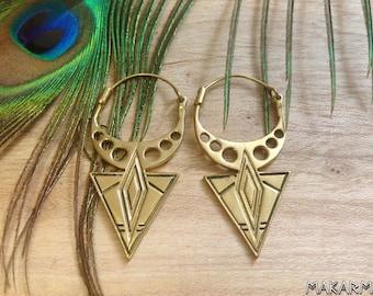 Women Steampunk Earrings Golden Hoop Earrings Brass Earrings Dangle Ear Weights Earrings Spikes Earrings Gift Idea For Her