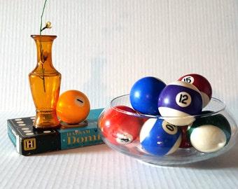 Vintage Billiard Balls, Set of Ten Average Sized Pool Balls, Collection, Display
