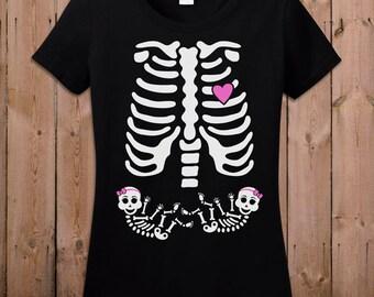 Twin Pregnant Skeleton Shirt Pregnancy Halloween Costume Maternity Skeleton T Shirt Twin Girls Skeleton Pregnancy Shirt Ladies TM-37