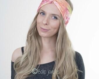 Spring Tie-Dye Stretchy Turban, Yoga Headband, Workout Hairband, Boho Turban, Twisted Headband, Stretchy Headband, Hair Tie, Yoga