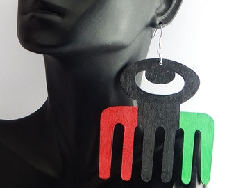 African Earrings Adinkra Jewelry Red Black Green Earrings Duafe Comb Earrings Afrocentric Handmade Ethnic African American Large Statement