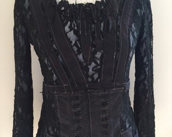 Black Victorian blouse, vampire lace style, gothic lace top,unique handmade top,steampunk , Goth,amazing black lace , tattered cotton blouse
