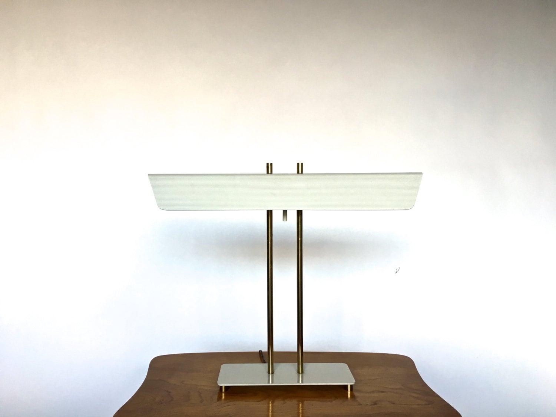 vintage mid century modern white brass banker desk table lamp thurston laurel. Black Bedroom Furniture Sets. Home Design Ideas