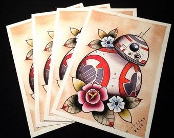 BB-8 Star Wars Tattoo Flash Print by Michelle Coffee
