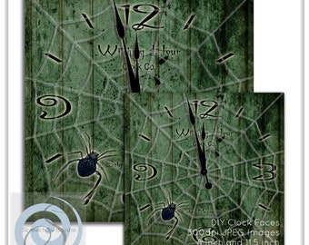 ONE DOLLAR SALE Printable Halloween Clock Face, Witching Hour Clock Face, Spiderweb Clock, Craft Supplies, Decoupage, Digital Clock Face