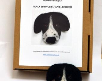 Black Springer Spaniel Dog Brooch Complete Needle Felting Kit