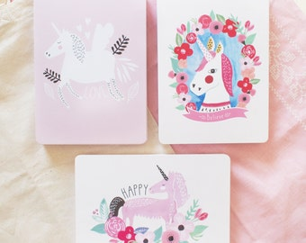 Pack, 3 cards, Unicorns illustrations