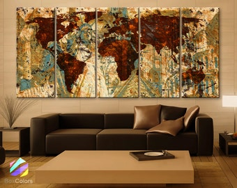 """XLARGE 30""""x 70"""" 5 Panels Art Canvas Print Original Wonders of the world Old Brown Sepia Map  Wall decor Home interior (framed 1.5"""" depth)"""