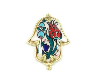 Hand painted Traditional Turkish Cini Ceramic Hamsa Connector, Floral Jewelry Ceramic Hand of Fatima. One of a kind. CF050