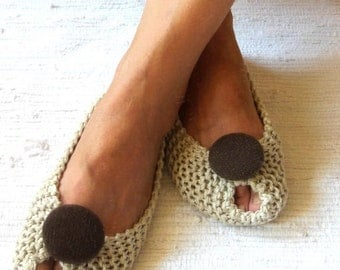BEIGE COTTON Women's Slippers - Footwear - Ballet flats - Handmade shoes - Knitted slippers - NenaKnit - Gift idea Gift Wrapping - NonSlip