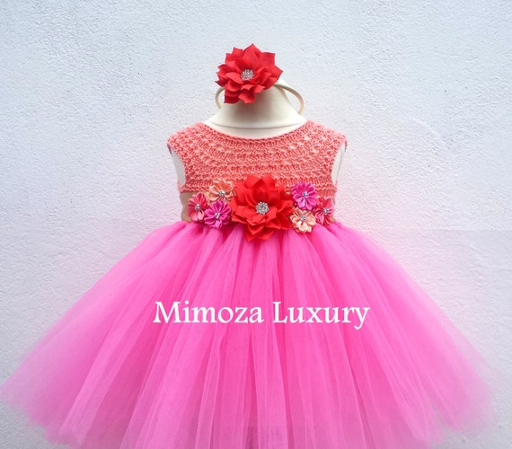 Birthday dress, peach pink 1st birthday tutu dress, bridesmaid dress, princess dress, crochet top tulle dress, hand knit tutu dress, luxury
