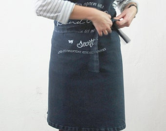 SWIFT+FKK collaboration apron. Women Apron. Men Apron. Denim Apron.Full Apron.Printed Apron for Men.Unisex Apron.Gifts for Him.Cooking Gear.