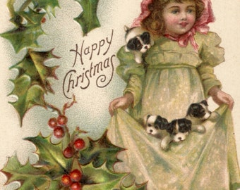 Vintage Christmas postcard girl and holly and puppies dogs digital download printable image