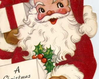 Vintage retro Christmas card Santa Claus digital download printable instant image