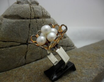 Partially oxidized with cultured pearls sterling silver ring