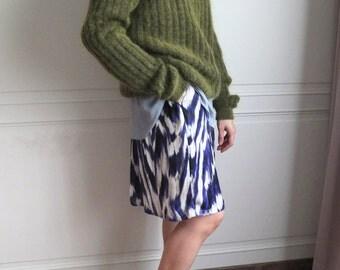 polysilk abstract brushstroke print a-line skirt