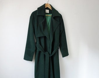 Black/Forest green moss belted wool trench coat {5% cashmere, available in various other colours}