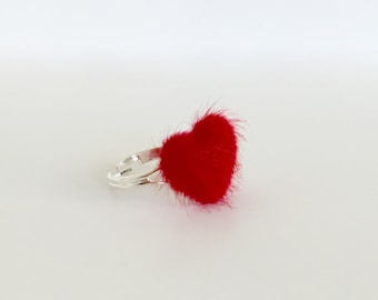 """Red Heart Silver Tone Adjustable Ring - Covered Button Ring - 0.75""""(2cm) Heart."""