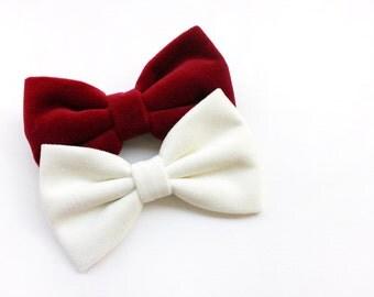 Bowties for men, velvet Bow tie in red, white, midnight blue,papillon winter, gift for men, gifts for groomsmen,winter wedding 2017,tie mens