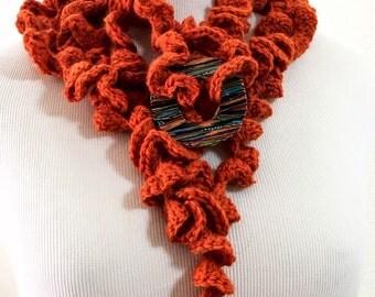Crochet Lariat Scarf , Сrochet Necklace, Orange Wool Jewelry, Necklaces Lariat Scarf Woman Accessories. Crochet Jewelry Elegant Scarves