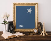Nursery Printable Art Print Star Wall Art Navy Nursery Decor Twinkle Print Boy Nursery Decor Star Poster Children's 8x10 Instant Download