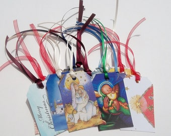 CHRISTMAS GIFT TAGS Recycled Greeting Cards Religious Set of 25