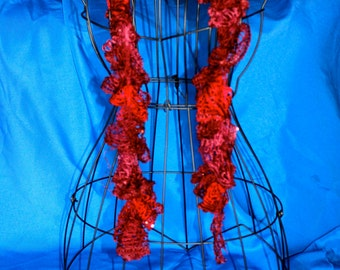 Cabernet ruffle crochet scarf