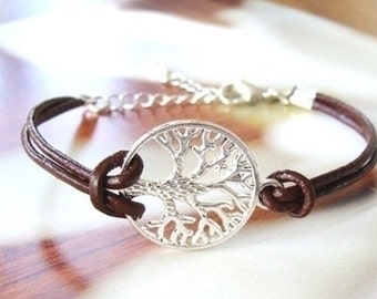 Real leather Tree of life Bracelet, Gold/Rose Gold/ Silver Tree of life Bracelet