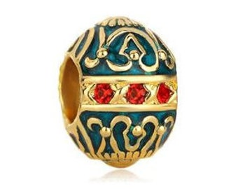 Faberge Bead, Green Charm, Vintage Charm, Large Hole Bead, European Bead, Charm Bead, Charm Bracelet, European Charm, Big Hole, Gold, Red