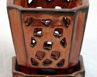 "Copper Square Ceramic Orchid Pot/Saucer plus Felt Feet - 4.25"" x 4"" - 14650"