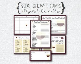 Wine Theme Bridal Shower 8 Games Bundle; Guess How Many; How Well Do You Know The Bride; Bingo; What's In Your Purse; Word Scramble; Wine
