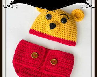Pooh Bear  Hat and Diaper Cover/ Crochet Baby Outfit/ Baby Photo Prop