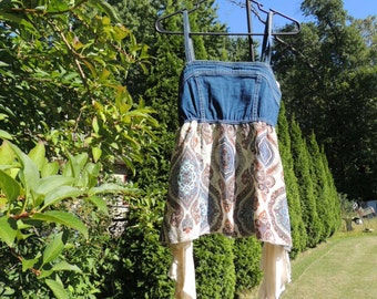 Sale / Blue / Paisley Boho Top / Upcycled Clothing / Recycled Top /  Gypsy Top / Hippie Top /  Junk Gypsy Tunic Dress / Small Top