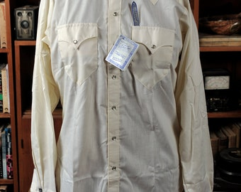 Cream / Yellow Rockmount 60's Vintage Mens Cowboy Western Shirt - M L New Old Stock Pearl Snaps