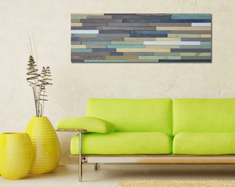 Reclaimed Wood Wall Art in Blues and Greens