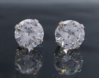 Man Made Diamond Simulant Stud Earrings 2.8 CTW Sterling Silver Jewelry Birthday 6mm Bridal Bridesmaid Gift April Birthstone Anniversary E55