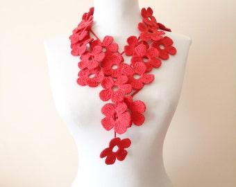 Crochet floral scarf red crochet floral scarf pure cotton scarf red lariat floral scarf long lariat floral scarf necklace spring scarf