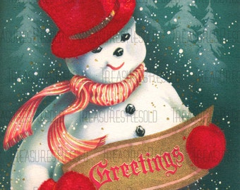 Retro Snowman In The Pines Greetings Christmas Card #199 Digital Download