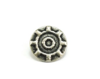 Decorative Round Metal Buttons 17mm Antique Silver Qty 3