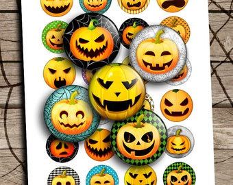 "Pumpkin Round Circles 25mm 1.5"" 1"" Halloween Printable Digital Collage Sheet Printable Download"